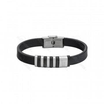 دستبند چرم مشکی مردانه مونت بلانک استیل نقره ای