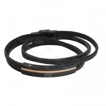 دستبند چرمی مردانه مونت بلانک استیل مشکی