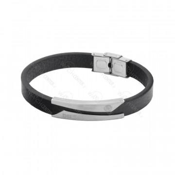 دستبند چرمی مردانه دیزل استیل نقره ای