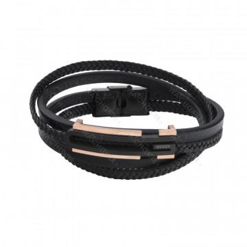 دستبند چرمی مردانه گوچی استیل مشکی