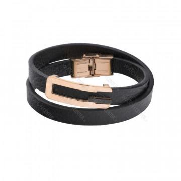 دستبند چرمی مردانه استیل رزگلد