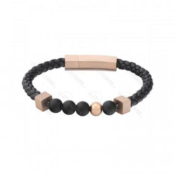 دستبند چرمی مردانه استیل مشکی رزگلد