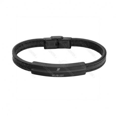 دستبند چرمی مردانه هوبلو استیل مشکی