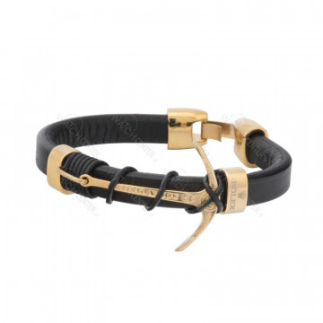 دستبند چرمی مردانه رولکس استیل طلایی