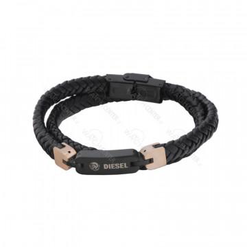 دستبند چرمی مردانه دیزل استیل مشکی