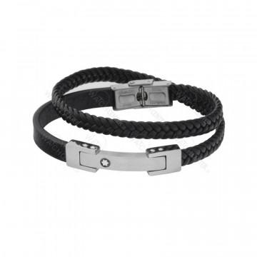 دستبند چرمی مردانه مونت بلانک استیل نقره ای