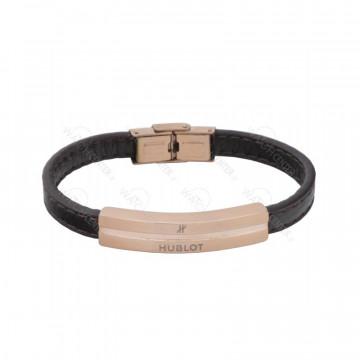 دستبند چرمی مردانه هوبلو استیل رزگلد