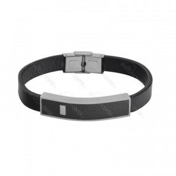 دستبند چرمی مردانه استیل مشکی