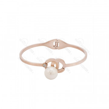 دستبند زنانه شنل استیل رزگلد نگین بزرگ سفید
