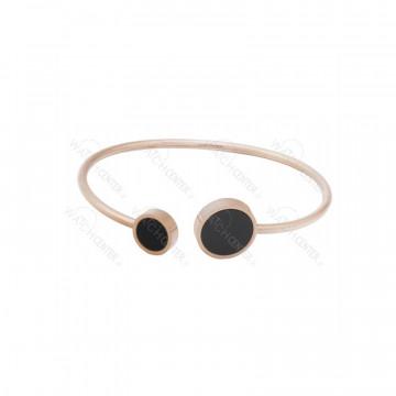 دستبند زنانه استیل رزگلد مشکی