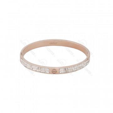 دستبند زنانه کارتیراستیل رزگلد نگین دار