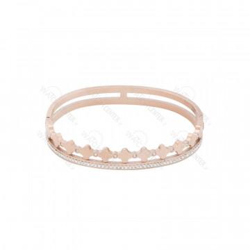 دستبند زنانه استیل رزگلد نگین دار