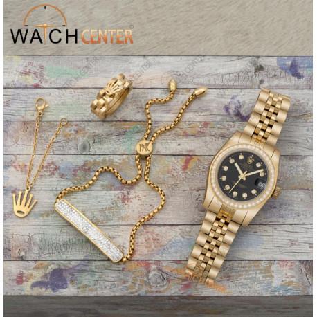 ست ساعت زنانه رولکس استیل طلایی دور نگین دار صفحه مشکی