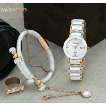 ست ساعت زنانه رادو سرامیکی رزگلد سفید صفحه سفید