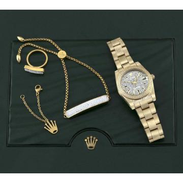 ست ساعت زنانه رولکس استیل طلایی صفحه نگین دار