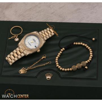 ست ساعت زنانه رولکس استیل طلایی صفحه سفید