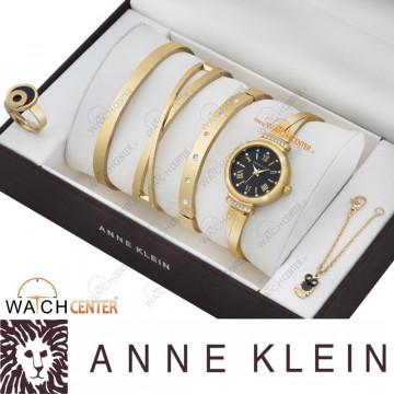 ست ساعت زنانه آنه کلین استیل طلایی مشکی صفحه مشکی نگینی