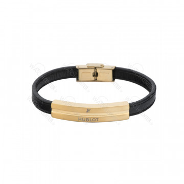 دستبند چرمی مردانه هوبلو استیل طلایی