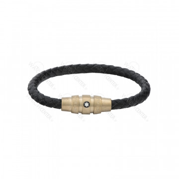 دستبند چرمی مردانه مونت بلانک استیل رزگلد
