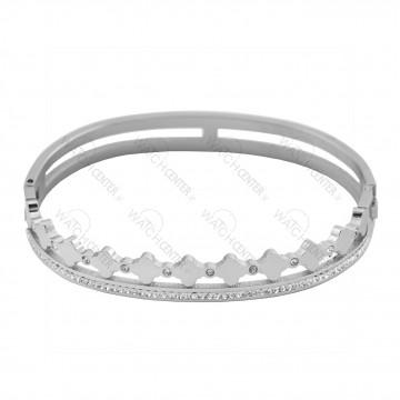 دستبند زنانه استیل نقره ای نگینی (74)