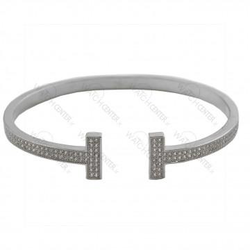 دستبند زنانه استیل نقره ای نگینی(72)