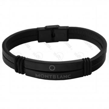 دستبند مردانه مونت بلانک چرمی مشکی (65)