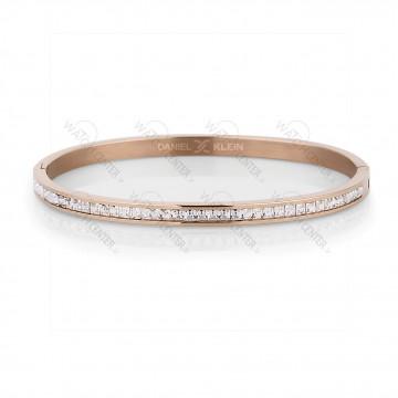 دستبند زنانه دنیل کلین فلزی رزگلد نگینی (DKB.2011.03)