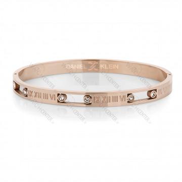 دستبند زنانه دنیل کلین فلزی رزگلد نگینی (DKB.2008.03)