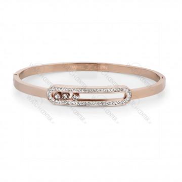 دستبند زنانه دنیل کلین فلزی رزگلد نگینی (DKB.2001.03)