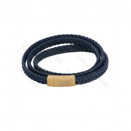 دستبند چرمی مردانه مونت بلانک استیل طلایی