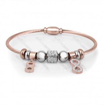 دستبند زنانه دنیل کلین فلزی رزگلد نگینی (DKB.2006.03)