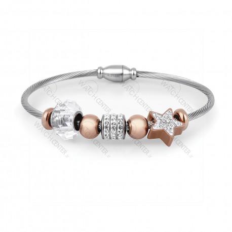 دستبند زنانه دنیل کلین فلزی نقره ای-رزگلد نگینی (DKB.2004.02)