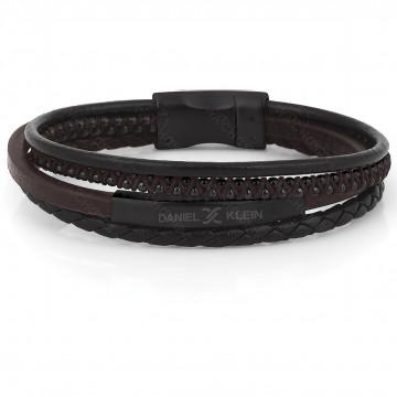 دستبند مردانه دنیل کلین چرمی مشکی (DKB.2021.02)