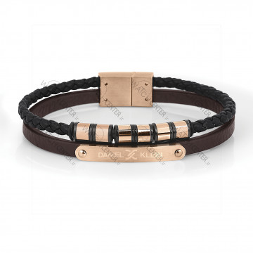 دستبند مردانه دنیل کلین چرمی قهوه ای-رزگلد (DKB.2014.03)