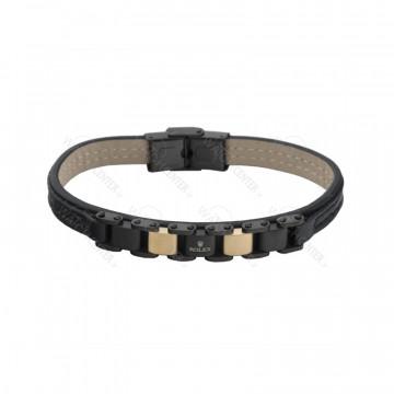 دستبند چرمی مردانه رولکس استیل رزگلد