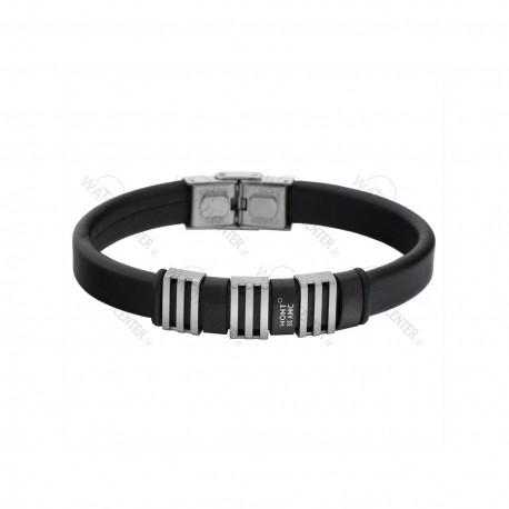 دستبند مردانه مونت بلانک چرمی نقره ای ـ مشکی