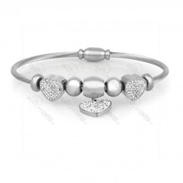 دستبند زنانه دنیل کلین فلزی نقره ای نگینی (DKB.2003.01)