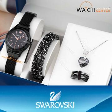 پک هدیه ساعت زنانه سواروفسکی حصیری مشکی صفحه مشکی