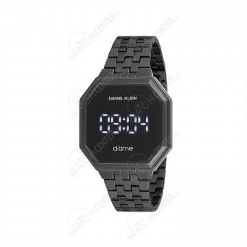 ساعت دیجیتالی دنیل کلین چند ضلعی بند استلیل خاکستری صفحه مشکی (dk12096-5)