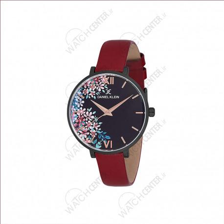 ساعت دنیل کلین زنانه بند چرمی قرمز -مشکی صفحه گلدار (dk12187-6)