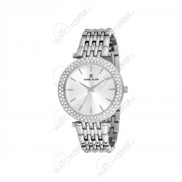 ساعت دنیل کلین زنانه فلزی نقره ای صفحه سفید دور نگین(DK12066-1)