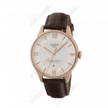 ساعت مردانه تیسوت چرمی قهوه ای صفحه سفید