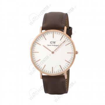 ساعت مردانه دنیل ولینگتون چرمی قهوه ای صفحه سفید
