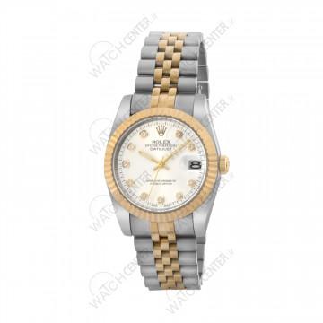 ساعت مردانه رولکس دیت جاست استیل نقره ای طلایی صفحه سفید