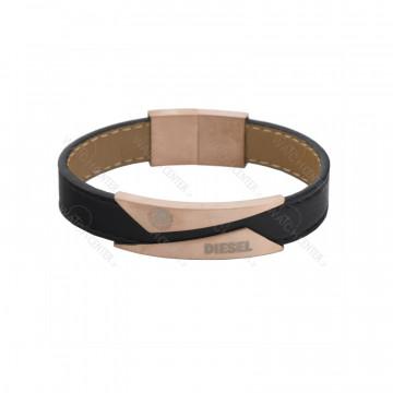 دستبند چرمی مردانه دیزل استیل رزگلد
