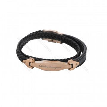 دستبند چرمی مردانه سالواتوره فراگامو استیل رزگلد