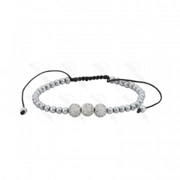 دستبند حدید زنانه سواروسکی نقره ای