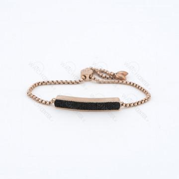 دستبند زنانه نگین دار(مشکی) رزگلد
