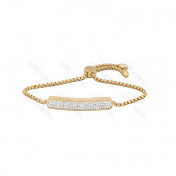 دستبند زنانه نگین دار(سفید) طلایی رنگ-طلایی