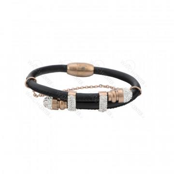 دستبند زنانه چرمی مشکی رزگلد